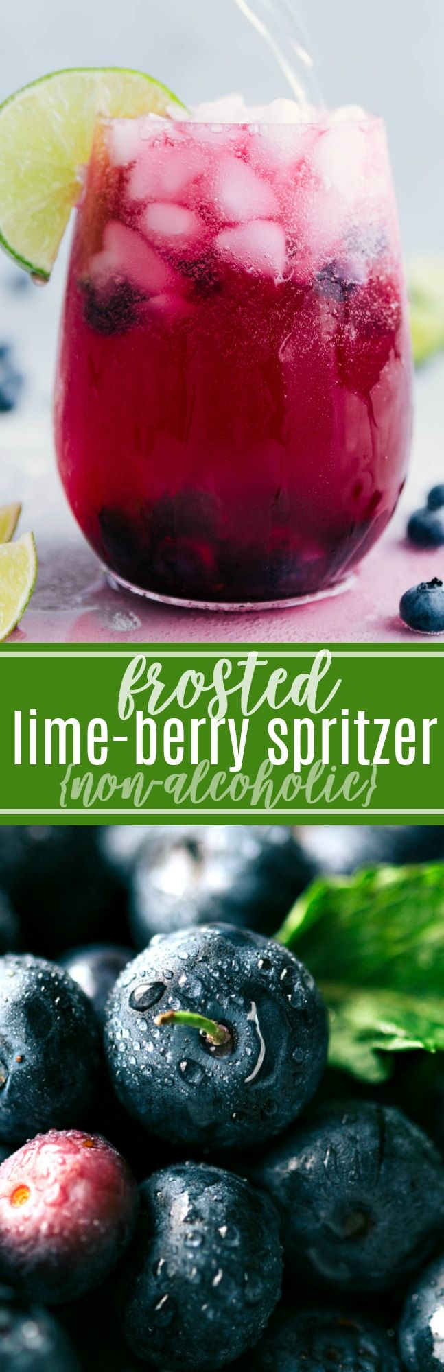 A delicious blueberry mandarine-lime beverage. This spritzer is non-alcoholic made with a sugared blueberry base and a mandarine-lime sparkling water. chelseasmessyapron.com