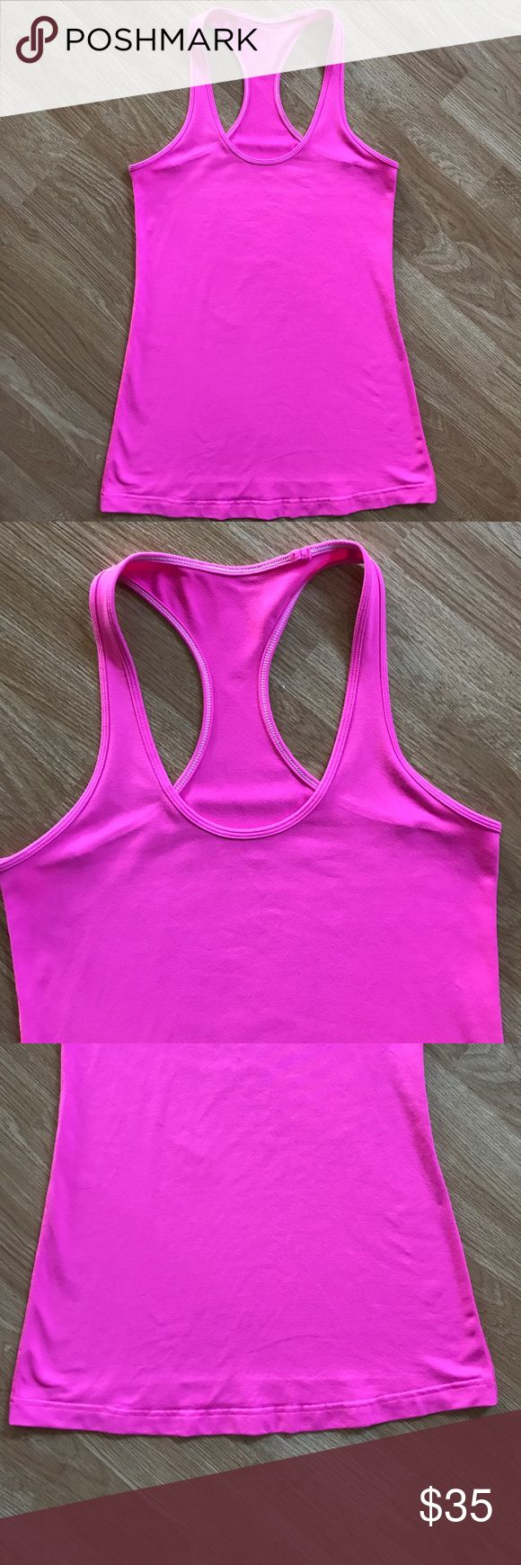 "Lululemon Cool Racerback Size 8 Like new, in excellent condition cool racerback tank. Size tag is removed but it is a size 8. Color is Pinkelicious.  True color is like the stock photos! Armpit to armpit measures 15"", length is 26"" lululemon athletica Tops Tank Tops"