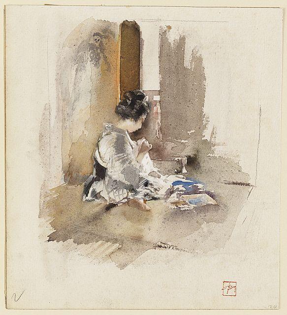 Japanese Girl Sewing
