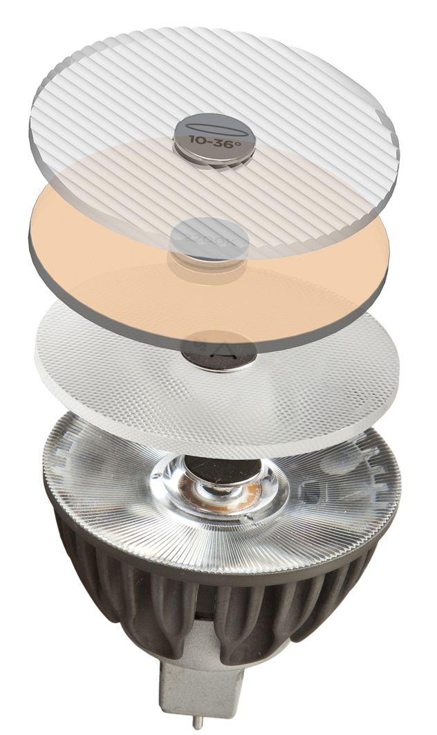 Soraa Vivid 3 MR16 GU10 - Faretto LED a pieno spettro luminoso - Snap system Infinite possibilità: lo snap-system     Lo snap-system di Soraa è il primo nel suo genere. Gli accessori sono progettati apposta per le luci Soraa Vivid LED. A causa dell'eccezionale efficienza luminosa e del preciso percorso visivo dei LED Soraa, esistono vari filtri e schermature che offrono una personalizzazione individuale per adattarsi a qualsiasi situazione di illuminazione possibile.   I filt ...