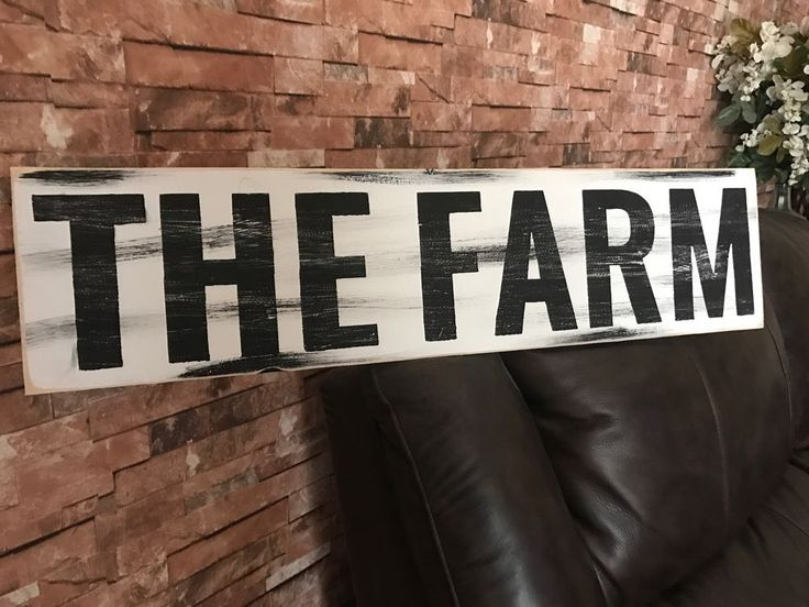 Large The Farm Farm House Style Rustic Kitchen Fixer Upper Style White Wood Sign #subwaysign