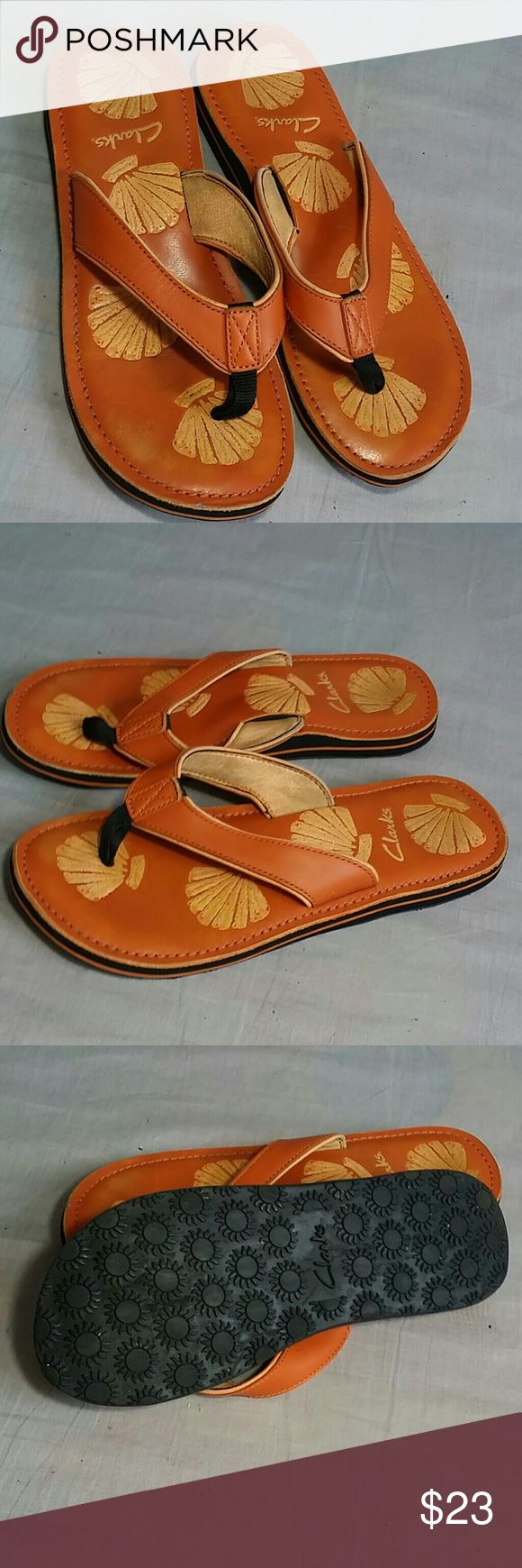 Clarks Sandals Orange 10 M Leather T-strap Item is in a good condition,please check the pictures, NO PETS AND SMOKE FREE HOME. Clarks Shoes Sandals