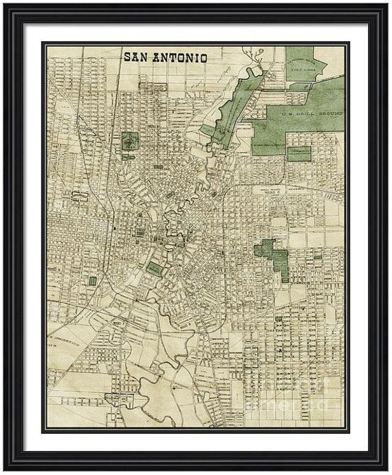 MAP of SAN ANTONIO Texas in a Vintage Grunge Weathered Antique