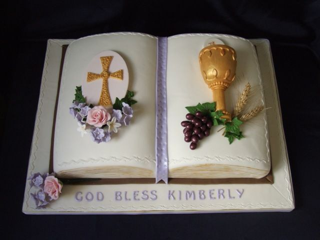First Holy Communion - Baked in a book pan covered with mmf. Flowers, grapes, chalice, cross all made from mmf.