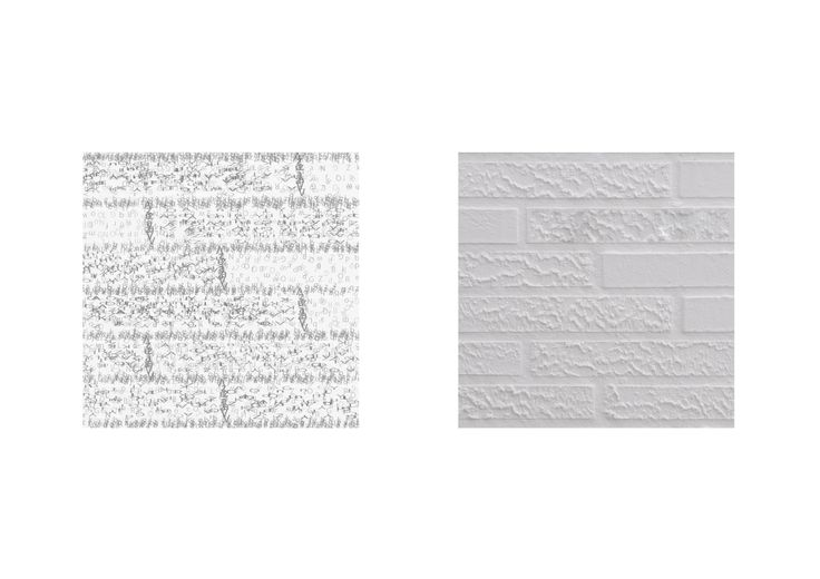 Bij deze textuur is er met verschillende grofheid gewerkt. Er is dus niet alleen een contrast tussen de stenen, maar ook t.o.v. de voegen.
