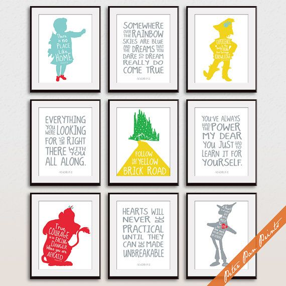 Wizard of OZ Quotes and Characters Set of 9 Art by PeterPanPrints