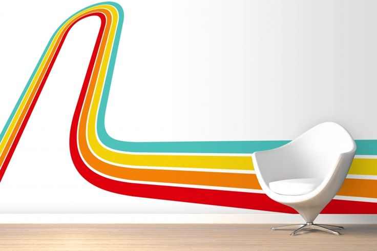 Rainbow Track Retro Mural Wallpaper