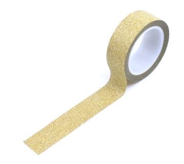 "Create glamorous food tags or wrap special gifts with this glittery gold washi tape. 5/8"" x 196"" roll."