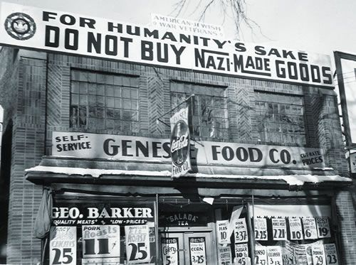 Jewish store with a sign demanding the boycott of German goods. The American based Bund made far more enemies than friends in the United States. Socialists and communists immediately opposed it. So did Jewish Americans, who organized a boycott of products from Nazi Germany