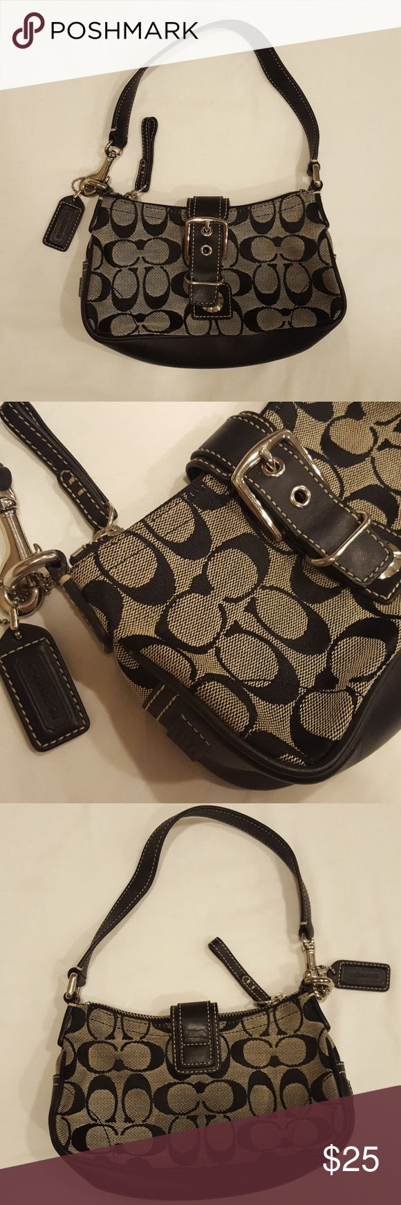Small Black Coach Purse Small Black Coach Shoulder Bag. With Buckle Detail. Small Pocket Inside Coach Bags Shoulder Bags