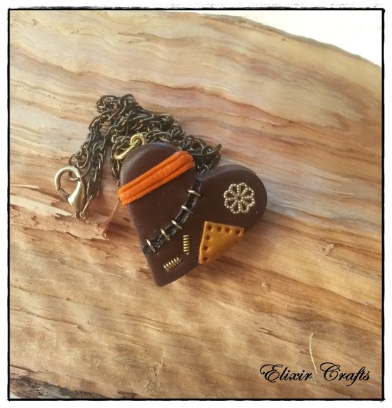Steampunk Polymer Clay Heart Necklace Brown Orange by ElixirCrafts