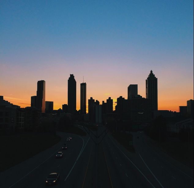 That Atlanta skyline - this would be easy to replicate on larger scale, if you broke it out into a grid.  Idea is to replicate on large canvas in either diff color buildings or dif color outline, outline'd similar to Fraiser opening.