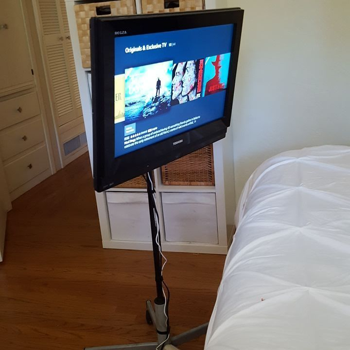 I hacked an Ikea desk chair and converted into a portable TV Stand..