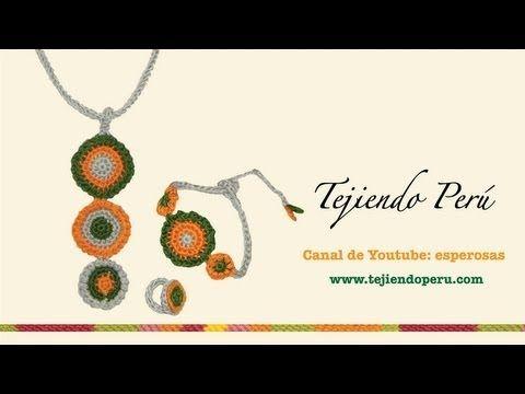 Collar, pulsera y anillo en crochet (con icord) Buen blog en español con videos