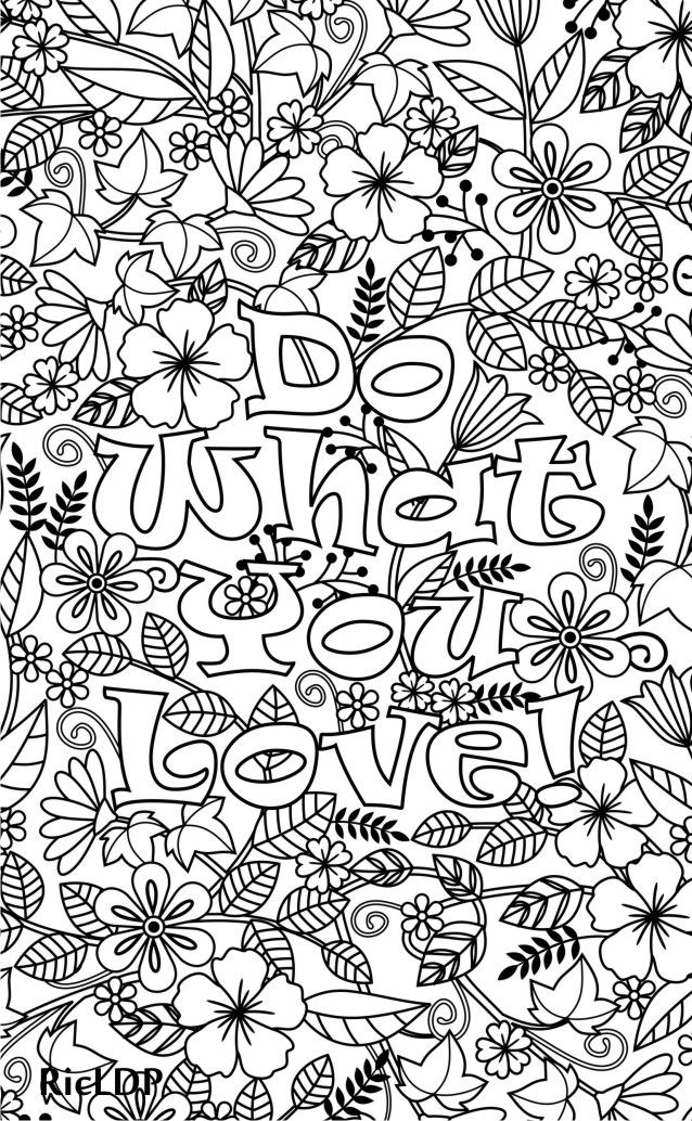 Printable Do What You Love Flower Design Coloring Page For