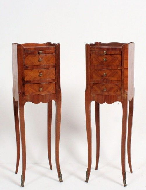 Antique walnut bedside table as a storage unit for your letters and papers.