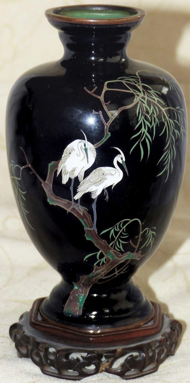 Cloisonné Egrets & Weeping Willion on Black Vase 5''H