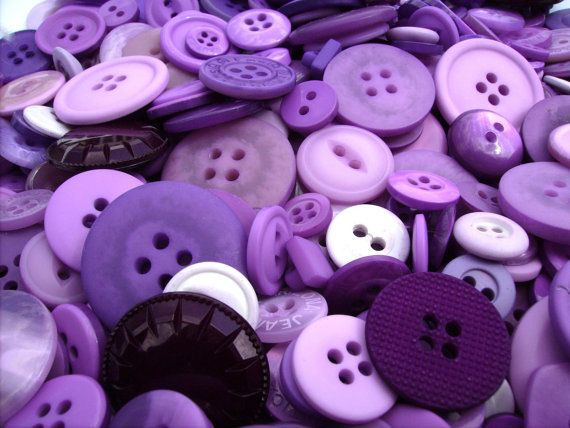 Hand Dyed Assorted Buttons - Sewing Embellishments - Small Medium Large PLUM PURPLE CRAZY Button Mix