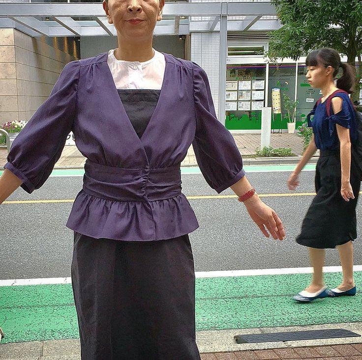 シャツとしてジャケットとしてカーディガンとしていろんな捉え方のできるパープルのアイテム 黒の挿し色として#instfashion #tokyo #ootd #knitwear #japan #coordinate #todayslook #urbanchis #2017summer #2017ssfashion #2017夏 #2017春夏 #東京#調布市#国領#調布#アーバンチックス#アラフィフ#アラフィフコーデ #アラフォー #アラフォーコーデ