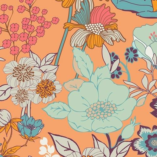 Art Gallery Fabrics :: Summerlove :: Beyond Bliss in Tangerine Moona Fabrics