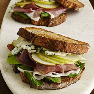 Cooking Light Pear, prosciutto and blue cheese sandwiches. You need this recipe. Trust me.