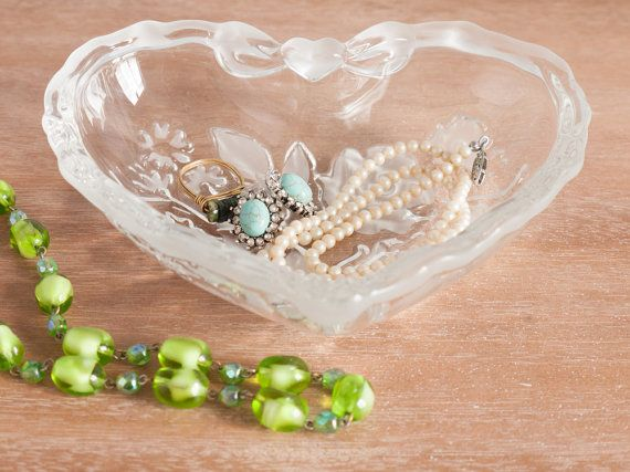 Vintage glass heart-shaped dish/bowl featuring by freshdarling