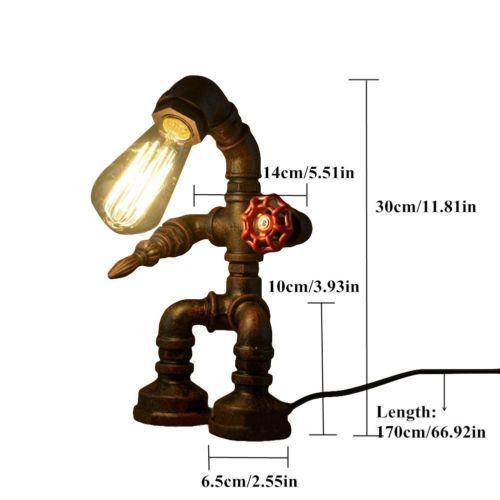 Промышленный настольная лампа вода утюг металлической трубой стол свет винтаж ретро бар чердак