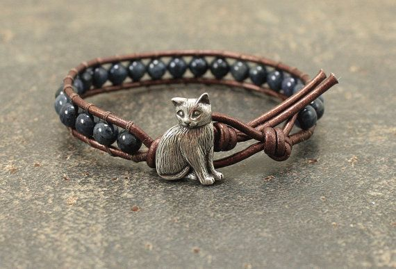 Leather Cat Jewelry Silver Bronze Denim Blue by singingcatstudio