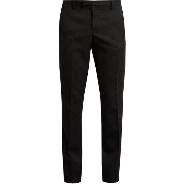 Saint Laurent Le Smoking grain de poudre tuxedo trousers ($420) ❤ liked on Polyvore featuring men's fashion, men's clothing, men's pants, men's casual pants, pants, men, mens wool pants, mens pants, mens slim pants and mens slim fit pants