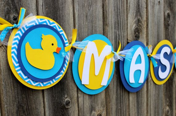 Rubber Ducky Baby Shower Banner IT'S A BOY by SparklingConfetti