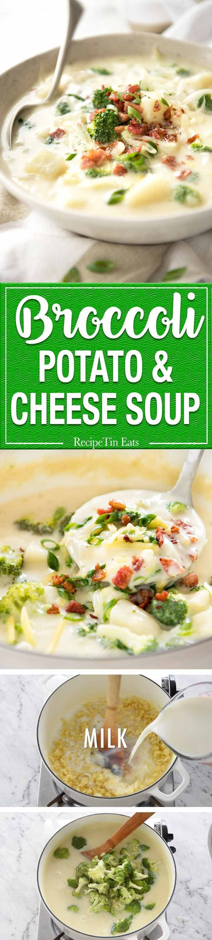 Thick and hearty, this Broccoli and Potato Soup with Cheese is fast and easy to make. Recipe video included. www.recipetineats.com