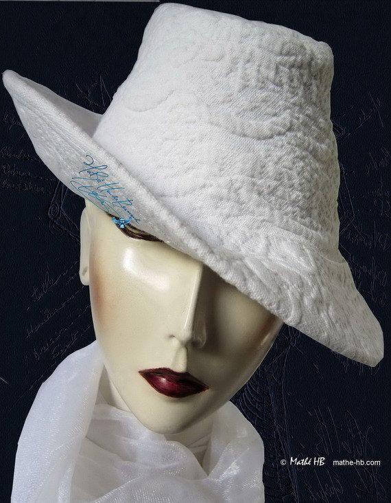 chapeau blanc d'été chic un brin rétro par MatheHBcouture sur Etsy