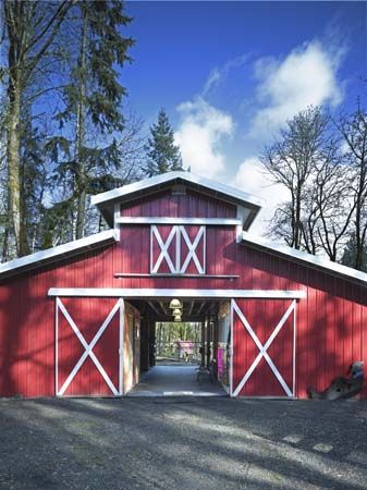 A big open barn. No more of those narrow halls & being cluttered to the ceiling!