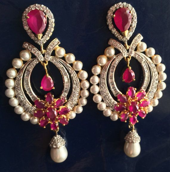 Beautiful ruby, American diamond with gold chandelier earrings