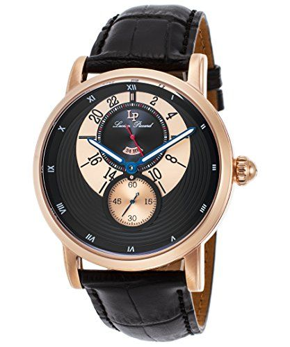 Men's Wrist Watches - Lucien Piccard Mens Santorini Quartz Stainless Steel and Leather Automatic Watch ColorBlack Model LP40043RG01 ** Be sure to check out this awesome product.