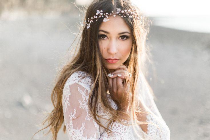 Beauty & The Bay of Fundy - halifax wedding photographer, Bridal headpiece, bries, weddings, flower crown, bridal hair, bridal make up, ocean wedding, beach wedding
