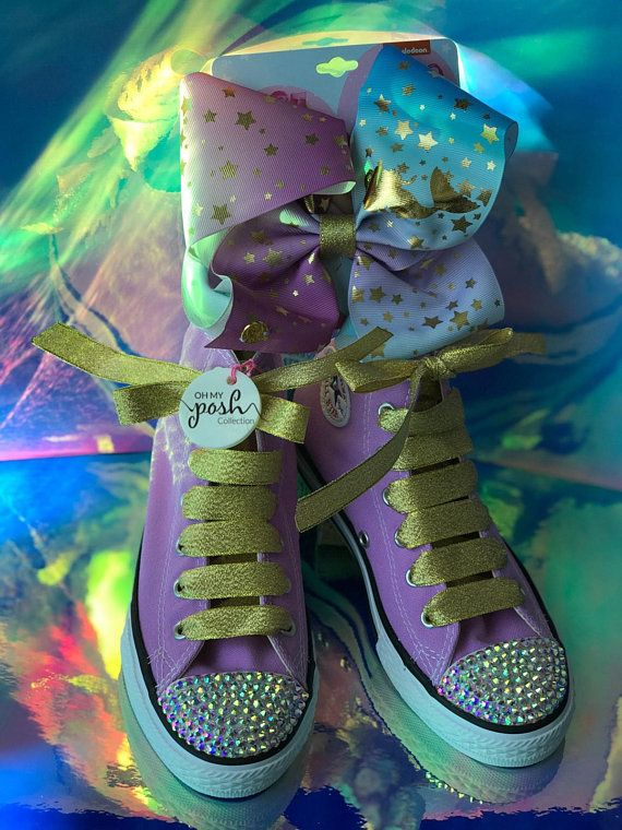 ad6fd0bbe0032 Jojo Siwa Inspired Custom Converse Shoes and Authentic Signature Hair Bow  Set