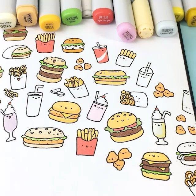 Kawaii Burger Doodle Nom Nom Nom • • #burger #speeddrawing #coloring #copicmarkers #かわいい #可愛い