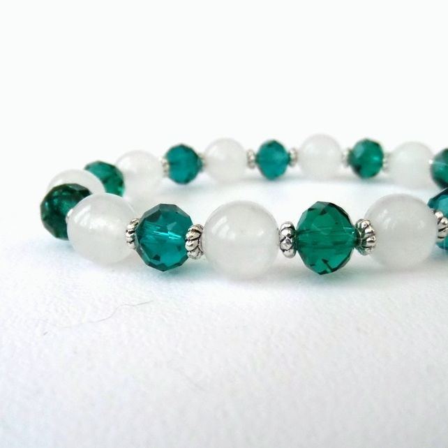 Handmade stretchy bracelet, with white jade and green crystal  by Beadstorm Jewellery