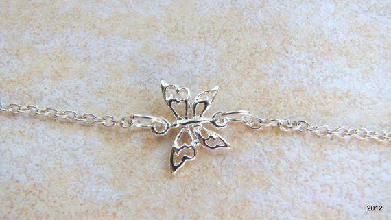 Sideways Butterfly Necklace Tiny Butterfly by BellaDonnaJewelryCo, $18.00