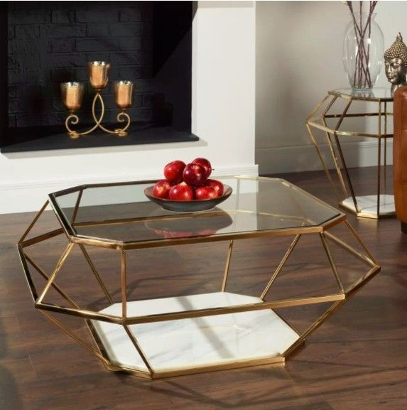 Modern Glass Coffee Table Large Metal Marble Frame Luxury Living