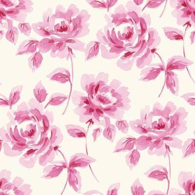 Hurmaava kukkatapetti, jossa pinkit ruusut kukkivat vaalealla pohjalla. Tällä tapetilla luot kotiisi helposti lumoavaa vanhanajan tunnelmaa.