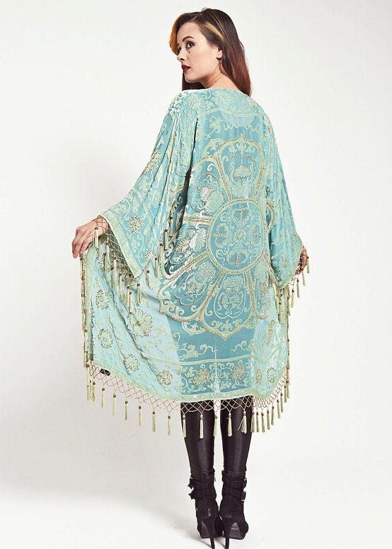Velvet Fringe Kimono Jacket  Aqua Lace by shevamps on Etsy