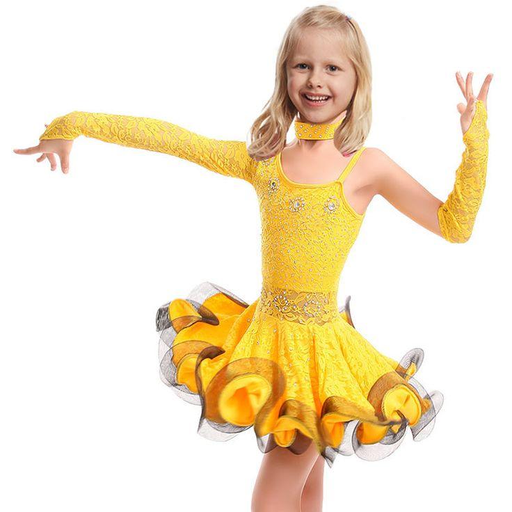 Lace Latin Dance Dress For Girls Samba Dress Ballroom Kids Dancing Dress Girl Dancewear Ballet Vestido Baile Latino Girls