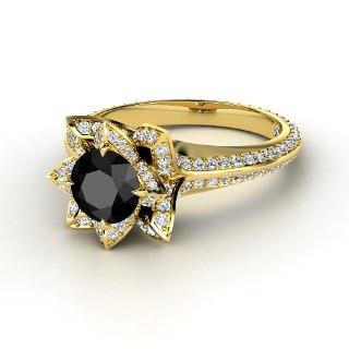Black Diamond ring set in 14K yellow gold: Flowers Bombs, 14K Yellow, Lotus Flowers, Diamonds Rings, Yellow Gold Rings, Lotus Rings, White Gold Rings, Black Diamonds, Engagement Rings