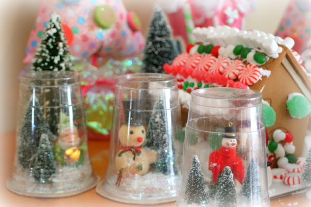 Homemade snow globes - craft idea.