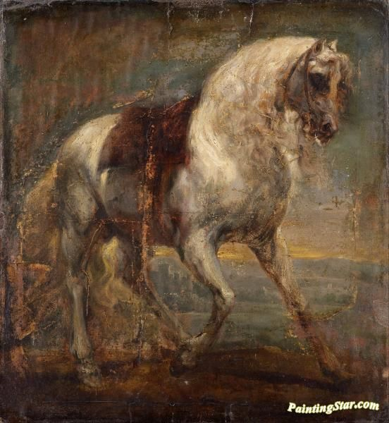 A grey horse Artwork by Anthony van Dyck Hand-painted and Art Prints on canvas for sale,you can custom the size and frame