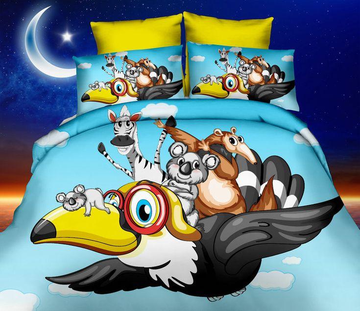 Modré posteľné obliečky s lietajucími zvieratkami