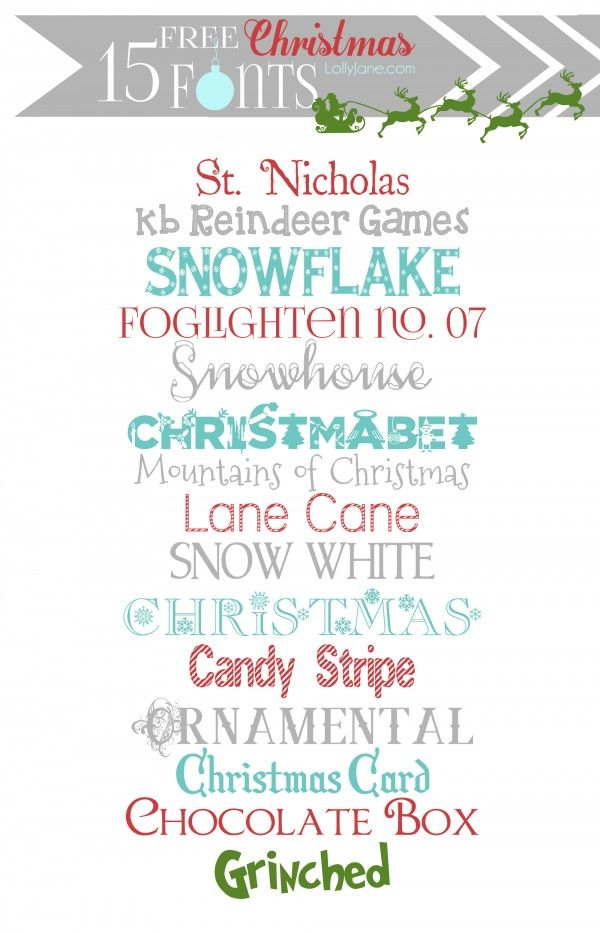 15 super cute FREE Christmas fonts | lollyjane.com