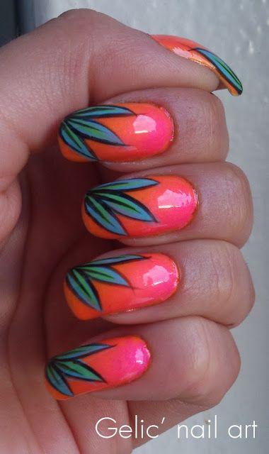 Gelic' nail art: Tropical nail art